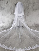cheap Wedding Veils-Two-tier Lace Applique Edge Wedding Veil Chapel Veils Cathedral Veils With Applique Lace Tulle