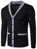 cheap Men's Sweaters & Cardigans-Men's Long Sleeves Cardigan - Solid Colored V Neck