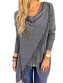 cheap Women's Hoodies & Sweatshirts-Women's Going out Street chic Plus Size Cotton T-shirt - Solid Colored Tassel