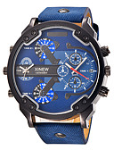 cheap Sport Watches-Men's Sport Watch / Military Watch / Wrist Watch Calendar / date / day / Dual Time Zones / Cool Leather Band Charm / Vintage / Casual Black / Blue / Brown / Stainless Steel / Large Dial / Two Years