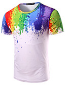 cheap Men's Shirts-Men's Cotton T-shirt - Rainbow Print Round Neck