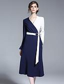 baratos Vestidos Femininos-Mulheres Bainha Vestido Retalhos Decote V Médio