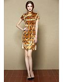 baratos Tops Femininos-Mulheres Temática Asiática Bainha Vestido Floral Colarinho Chinês