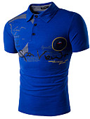 Χαμηλού Κόστους Ανδρικά μπλουζάκια και φανελάκια-Ανδρικά Polo Ενεργό - Βαμβάκι Γράμμα Κολάρο Πουκαμίσου Λεπτό Στάμπα / Κοντομάνικο