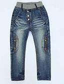 baratos Calças para Meninos-Infantil / Bébé Para Meninos Desenho Sólido Algodão Jeans