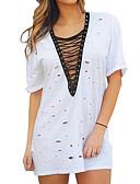 baratos Camisetas Femininas-Mulheres Camiseta Buraco, Sólido Algodão Decote V / Verão / Com Laço