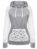 cheap Women's Hoodies & Sweatshirts-Women's Cotton Hoodie - Solid Colored, Lace / Spring