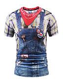 baratos Camisetas & Regatas Masculinas-Homens Camiseta Moda de Rua Estampado, 3D Decote Redondo Delgado / Manga Curta
