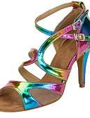 cheap Women's Dresses-Women's Salsa Shoes Leatherette Sandal / Heel Buckle / Ruffles Customized Heel Customizable Dance Shoes Rainbow / Performance