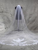 cheap Wedding Veils-One-tier Lace Applique Edge Wedding Veil Cathedral Veils 53 Appliques Tulle