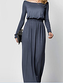 cheap Women's Dresses-Women's Sheath Dress - Solid Colored Maxi Boat Neck