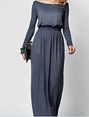 رخيصةأون فساتين للنساء-فستان نسائي ثوب ضيق طويل للأرض لون سادة رقبة باتو مناسب للعطلات / مناسب للخارج