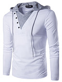 cheap Men's Clothing-Men's Daily Weekend Active / Street chic Cotton Slim T-shirt - Solid Colored Patchwork Hooded White / Long Sleeve