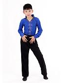 hesapli Latin Dans Giysileri-Latin Dansı Kıyafetler Performans Polyester Puantiyeli Fırfırlı Uzun Kollu Yüksek Top Pantalonlar