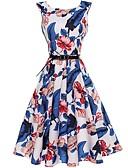 baratos Vestidos de Mulher-Mulheres Diário / Feriado / Praia Vintage Algodão / Poliéster Bainha / balanço Vestido Floral Cintura Alta Altura dos Joelhos / Verão