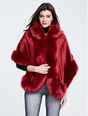 cheap Women's Fur & Faux Fur Coats-Women's Daily / Going out Vintage Fall / Winter Regular Cloak / Capes, Solid Colored Hooded 3/4 Length Sleeve Polyester Black / Gray / Wine One-Size