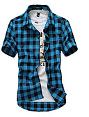 cheap Men's Shirts-Men's Weekend Beach Cotton Slim Shirt - Plaid Classic Collar