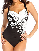 cheap Women's Swimwear & Bikinis-Women's Plus Size Strap One-piece - Floral, Print Briefs Black & White