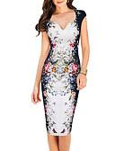 זול שמלות נשים-צווארון V גיזרה נמוכה עד הברך מעל הברך דפוס, אחיד - שמלה נדן תחרה עבודה בגדי ריקוד נשים