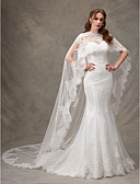 cheap Wedding Dresses-Mermaid / Trumpet Sweetheart Neckline Sweep / Brush Train Lace Made-To-Measure Wedding Dresses with Draping / Lace by LAN TING BRIDE® / Yes