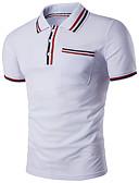 preiswerte Herren Polo Shirts-Herrn Solide - Grundlegend / Street Schick Polo, Hemdkragen Schlank Schwarz L / Kurzarm / Sommer