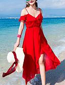 رخيصةأون فساتين للنساء-أحمر طويل للأرض بدون حمالات سادة - فستان شيفون حرير شاطئ / عطلة للمرأة