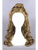 hesapli Spor Saat-Sentetik Peruklar / Kostüm Perukları Bukle Kahverengi At kuyruğu ile Bej Sentetik Saç Kadın's Kabarık saç modeli / Orta Bölüm / Örgülü Peruk Kahverengi Peruk Orta Bonesiz
