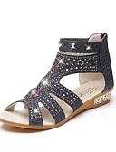 baratos Blusas Femininas-Mulheres Sapatos Couro Ecológico Primavera Conforto Sandálias Salto Baixo Dourado / Preto / Bege