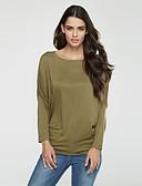 billige T-shirt-Flagermuseærmer Bateau-hals Dame - Ensfarvet, Krøllede Folder Plusstørrelser T-shirt Bomuld