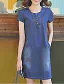 tanie Sukienki-Damskie Rozmiar plus Linia A / Dżins Sukienka - Jednolity kolor Wysoka Talia Nad kolanami, Mini Niebieski / Lato