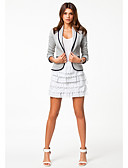 cheap Women's Blazers-Women's Classic & Timeless Blazer-Mixed Color Peter Pan Collar