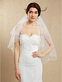 cheap Wedding Dresses-Two-tier Beaded Edge Wedding Veil Blusher Veils Fingertip Veils With Bead Tulle
