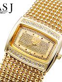 baratos Relógios de Pulseira-ASJ Mulheres Bracele Relógio Japanês Quartzo imitação de diamante Cobre Banda Analógico Luxo Brilhante Fashion Prata / Dourada - Dourado Prata