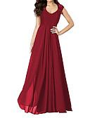 preiswerte Abendkleider-Damen Party / Festtage / Ausgehen Retro Swing Kleid - Spitze / Rückenfrei / Ausgeschnitten, Solide Maxi U-Ausschnitt Rot / Gerüscht