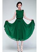 رخيصةأون فساتين طويلة-فستان متموج مطوي طويل للأرض لون سادة