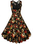 baratos Vestidos de Mulher-Mulheres Vintage Tamanhos Grandes Algodão Calças - Floral Amarelo / Decote V / Feriado / Para Noite