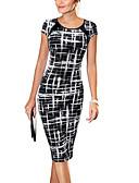 cheap Women's Dresses-Women's Work Cotton Bodycon Dress - Plaid Print / Summer / Slim
