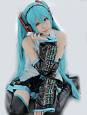 cheap Zentai Suits-Inspired by Vocaloid Hatsune Miku Video Game Cosplay Costumes Cosplay Suits / Dresses Patchwork / Anime Sleeveless Blouse / Skirt / Sleeves 855 / Satin