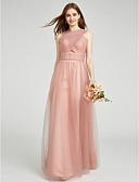 preiswerte Hochzeitskleider-A-Linie V-Ausschnitt Boden-Länge Tüll Brautjungfernkleid mit Überkreuzte Rüschen durch LAN TING BRIDE®