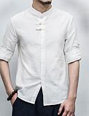 저렴한 남성 셔츠-남성용 솔리드 스탠딩 카라 셔츠, 시누아즈리 린넨