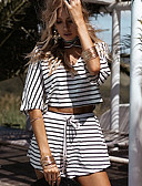 cheap Women's Two Piece Sets-Women's Beach Going out Holiday Street chic T-shirt - Striped Pant V Neck