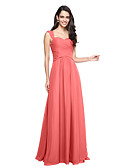 cheap Evening Dresses-A-Line Straps Floor Length Chiffon Bridesmaid Dress with Criss Cross / Ruched by LAN TING BRIDE®