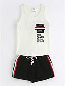 hesapli Erkek Çocuk Kıyafetleri-Genç Erkek Günlük Pamuklu Solid Geometrik Yaz Kolsuz Kıyafet Seti Beyaz