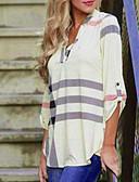 cheap Women's Blouses-Women's Street chic Loose Shirt - Striped V Neck