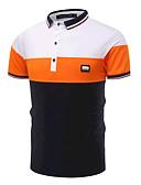 رخيصةأون تيشيرتات وتانك توب رجالي-للرجال Polo نشيط - قطن بلوك ألوان قبعة القميص ضعيف أسود و أبيض