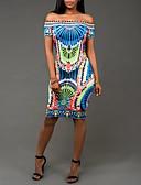 זול שמלות נשף-כחול סטרפלס גיזרה גבוהה עד הברך דפוס שמלה צינור / נדן סגנון רחוב חגים / מועדונים בגדי ריקוד נשים / קיץ / רזה
