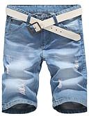 baratos Calças e Shorts Masculinos-Homens Básico Delgado / Shorts Calças - Sólido Azul / Verão / Final de semana