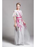 preiswerte Abendkleider-Damen Aufflackern-Hülsen- Swing Kleid - Gitter, Stickerei Maxi