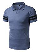baratos Pólos Masculinas-Homens Camiseta Activo Estampado, Listrado Algodão Colarinho de Camisa / Manga Curta / Praia