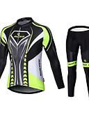 billige T-skjorter til damer-Malciklo Herre Langermet Sykkeljersey med tights Britisk Sykkel Tights Med Seler Jersey Klessett, 3D Pute, Fort Tørring, Pustende Lycra